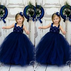 Wholesale Flower Girls' Dresses - Buy Newest Hot Royal Blue Tull Ball Gown Flower Girls' Dresses Charming Lovely Spaghetti Floor Length Wedding Occasion Dress 2015, $68.77   DHgate.com