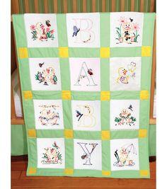 "Stamped Baby Quilt Blocks 18""X18"" 6/Pkg-Duck Baby, , hi-res"