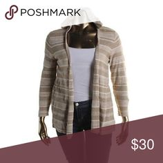 "STYLE & CO HOODED CARDIGAN SWEATER. NWT 1X You are purchasing the CARDIGAN only. Beige and white stripes. 3/4 sleeves. Bust across is 18.5"". Open design. No collar or buttons. 100% cotton. Hooded. Great feel. NWT. Retail: $79.50 Style & Co Sweaters Cardigans"