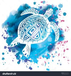 I like how the turtle is white against the watercolor background