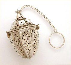 Antique Sterling Silver Webster Tea Ball Infuser Lantern Shape