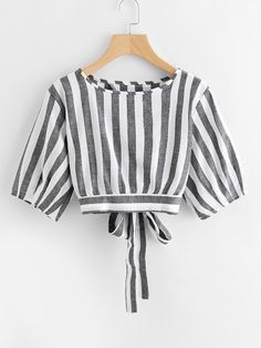 striped split self tie back Girls Fashion Clothes, Teen Fashion Outfits, Stylish Outfits, Kids Outfits, Girl Fashion, Cool Outfits, Fashion Dresses, Vetement Fashion, Crop Top Outfits
