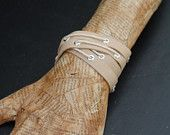 Tan Leather Double Wrap Cuff ( Laced bracelet)