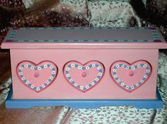 Girl's Jewelry Box with Hearts Pink Jewelry Box by onceuponabox