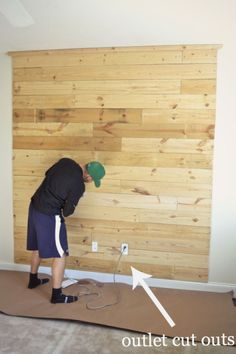 DIY wood headboard with outlets cut out