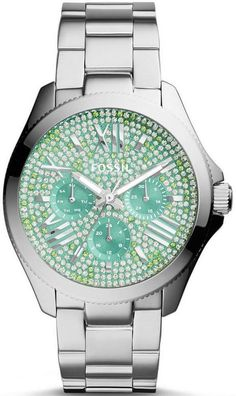 Tiffany Blue Subdials! Women's Fossil Watch Cecile AM 4602 BLING Face #Fossil #tiffanyblue