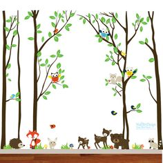 Birch Vinyl Nursery Wall Decal Birds Owls Squirrel Bear Raccoon Mushrooms Deer Rabbit Fox Hedgehog Grass Set
