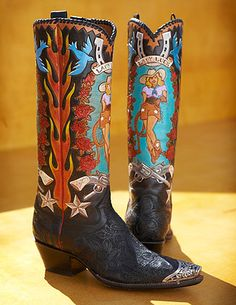 Rocketbuster, the finest Handmade Custom Cowboy Boots. Family owned, handmade in TEXAS,shipped worldwide.Spaceage vintage style for folks who just ain't boring! Custom Cowboy Boots, Custom Boots, Cowgirl Boots, Western Boots, Cowboy Western, Spats Shoes, Shoe Boots, Pin Up, Texas