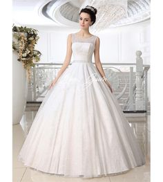 White Ball Gown Jewel Neck Lace Floor-Length Tulle Brides Wedding Dress $239.88
