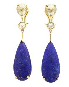 Pamela Huizenga: diamond & lapis earrings