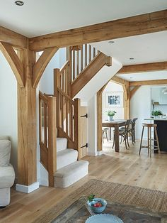 Oak open plan with oak … Border Oak open plan with oak . , Border Oak open plan with oak . Cottage Staircase, Timber Staircase, Oak Stairs, Concrete Stairs, Staircase Ideas, Hallway Ideas, Living Room Floor Plans, Living Room Flooring, Bedroom Flooring