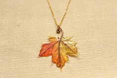 Autumn Maple Leaf Translucent Resin and Wire Pendant Necklace, fall colors orange red yellow nature woodlands mori girl forest