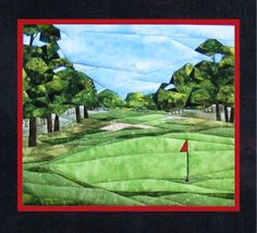 """Golf Anyone? - NEW Form of Foundation Paper Piecing (Picture Piecing) Pattern - 17 1/4"""" x 19"""" Quilt Block - PaperPiecedQuilting.com"""