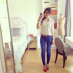Mimi Ikonn | Red heels and polka dot shirt
