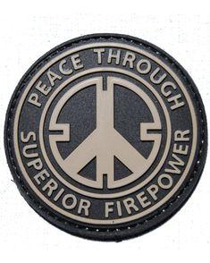 Amazon.com: Peace Through Superior Firepower PVC Velcro Morale Patch: Everything Else