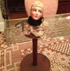 96b3b95b227 Vintage Flapper Doll Head Hat Stand French Antique