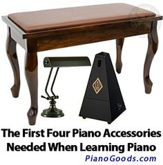 When you first start playing piano, there are several accessories you need to play comfortably. Here are the first four recommended. #pianoaccessories #learnpiano  http://www.pianogoods.com/blog/the-first-four-piano-accessories-needed-when-learning-piano/