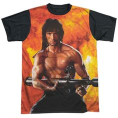 """Checkout our #LicensedGear products FREE SHIPPING + 10% OFF Coupon Code """"Official"""" Rambo:first Blood Ii/fire-s/s Adult T- Shirt - Rambo:first Blood Ii/fire-s/s Adult T- Shirt - Price: $24.99. Buy now at https://officiallylicensedgear.com/rambo-first-blood-ii-fire-s-adult-shirt-licensed"""