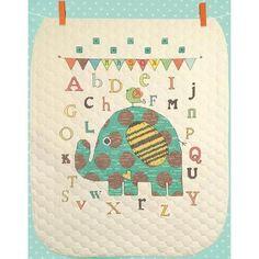 """Baby Elephant Abc Quilt Stamped Cross Stitch Kit-34""""X43"""" - Walmart.com"""