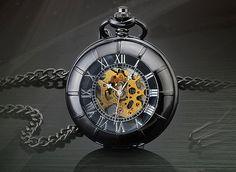 Per la vendita è Vintage orologio antichi orologio meccanico mano vento scheletro orologio una splendida maschile da tasca, orologio Steampunk