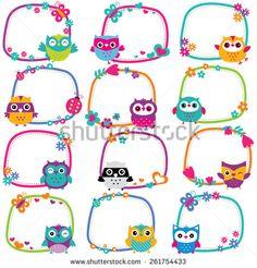 Cute Owl Frames Clip Art Set Stock Vector - Illustration of childlike, character: 51606519 Owl Classroom, Classroom Decor, Portfolio Kindergarten, Cliparts Free, Owl Clip Art, School Frame, School Labels, Frame Clipart, Borders And Frames