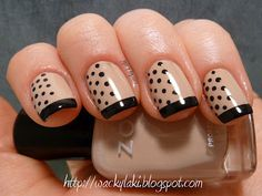 Black and Tan Polka Dot French Tip
