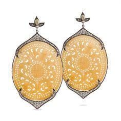 Bochic Carved Yellow Jade & Diamond Earrings