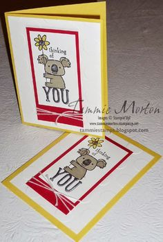 Tammie Stamps: Thinking of You (Kind Koala) Card Love this cute Koala from Stampin'Up!  This card is fun and easy to make using markers, and the Big Shot with the Large Polka Dot Embossing Folder.