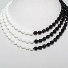 Vintage White/Black Three Strand Crystal Beaded Necklace