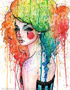 Masked Sad Clown Girl Pop Art Rainbow Hair Splatter by NeverDieArt