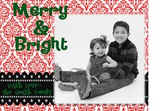 Chevron Christmas Card Digital File RED DEMASK  Red by MadeeBee, $10.00