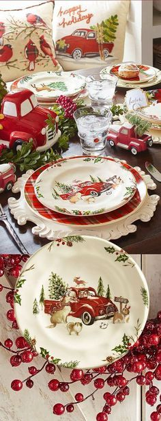 54 ideas vintage christmas table settings rustic for 2019 Christmas Red Truck, Christmas China, Christmas Dishes, Cozy Christmas, Country Christmas, Vintage Christmas, Xmas, Christmas Table Settings, Christmas Tablescapes
