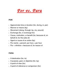 por vs para spanish visuals | Por vs. Para screenshot