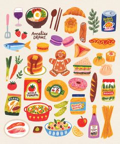 Cartoon Stickers, Kawaii Stickers, Cute Stickers, Food Drawing, Journal Stickers, Aesthetic Stickers, Food Illustrations, Cute Illustration, Sticker Design