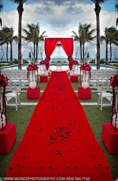 Red Wedding aisle flower décor, wedding ceremony flowers, pew flowers, wedding flowers, add pic source on comment and we will update it. www.myfloweraffair.com can create this beautiful wedding flower look.