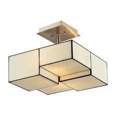 Elk Lighting Modern Semi-Flushmount Light with Beige / Cream Glass in Brushed Nickel Finish | 72061-2 | Destination Lighting