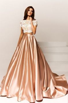 Bateau Neck party dress, Two Pieces prom gowns, Short Sleeves ball gowns, Lace Dress - Party Dresses and Party Outfits Two Piece Evening Dresses, Lace Evening Dresses, Evening Gowns, Lace Dress, Lace Bodice, Evening Party, Two Piece Gown, Tafta Dress, Gown Skirt