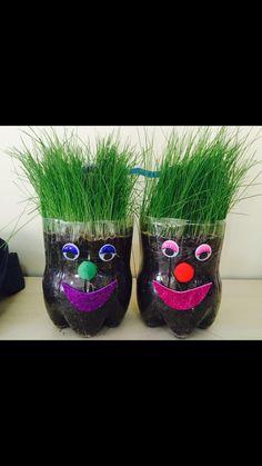 Çim adam çalışmamız Autumn Crafts, Nature Crafts, Spring Crafts, Planting For Kids, Diy Plastic Bottle, Kids Room Design, Garden Crafts, Recycled Crafts, Lawn And Garden