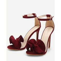 SheIn(sheinside) Layered Ruffle Design Stiletto Heels ($35) ❤ liked on Polyvore featuring shoes, pumps, red ankle strap pumps, ankle strap peep toe pumps, ankle strap pumps, red stilettos and red high heel pumps