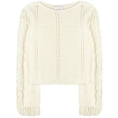 3.1 Phillip Lim Fringed Sweater ($345) ❤ liked on Polyvore featuring tops, sweaters, white, 3.1 phillip lim, white fringe sweater, white top, white fringe top and white sweater