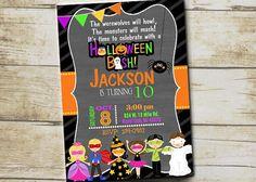 HALLOWEEN Birthday Invitation YOU Print Digital File Or PRINTED - Halloween birthday invitations uk