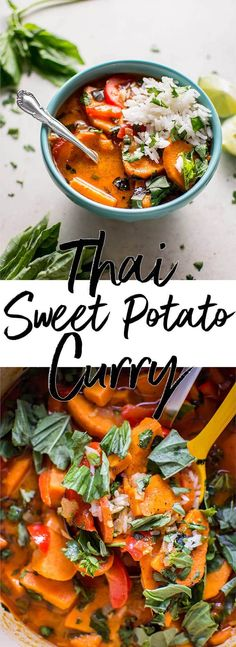 This Thai sweet potato coconut red curry is a hearty meal that's healthy, flavorful, comforting, and filling.