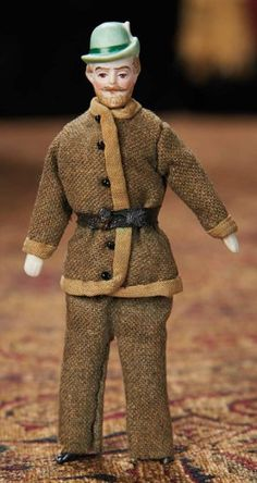 """German Bisque Dollhouse Man with Sculpted Tyrolean Hat   5"""" tall"""