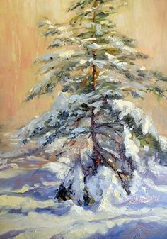 January 7, 2012 Two New Snowy Spruce Tree Paintings! Demo! Daisy and Duke Go For A Ride! | Plein Aire in Maine