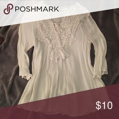 White top White top with crochet around the top Tops Blouses