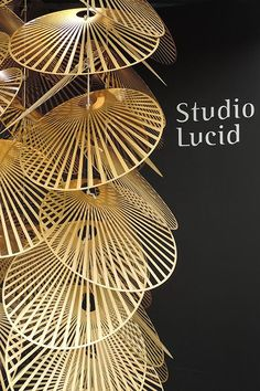 'Leaf' lighting installation design from Heathfield & Co's 'Studio Lucid' design team Artistic Installation, Light Installation, Chandelier Pendant Lights, Pendant Lamp, Modern Lighting, Lighting Design, Ceiling Lamp, Ceiling Lights, Chinese Element