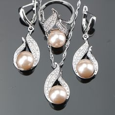"Universe of goods - Buy ""Natural Pearl Silver 925 Bridal Jewelry Sets Women Jewellery With Zircon Pearls Set of Earrings Pendant Necklaces Ring Gift Box"" for only USD. Pearl Bridal Jewelry Sets, Pearl Jewelry, Sterling Silver Jewelry, Wedding Jewelry, Silver Ring, Silver Pearls, 925 Silver, Jewelry Accessories, Women Jewelry"