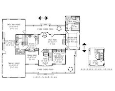 Simply because it has a homeschool room. :D First Floor Plan of Country   Farmhouse  House Plan 96839