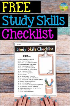 Use this free printable study skills checklist to assess strategies and skills in school with teens and young adults. High School Binders, Middle School Classroom, Homeschool High School, Special Education Classroom, Physical Education, Teacher Freebies, Teacher Planner, Teacher Resources, Classroom Resources