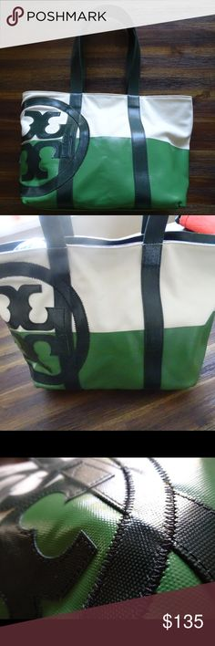 "Tory Butch Small Dipped Beach Bag NWT!! Never used or worn. Color-blocking and glossy coated canvas accents. Has double handles, slip pockets, zipper closure. 18""x6""x12"". 10"" handle drop. Super chic! Retail $195. Tory Burch Bags Totes"